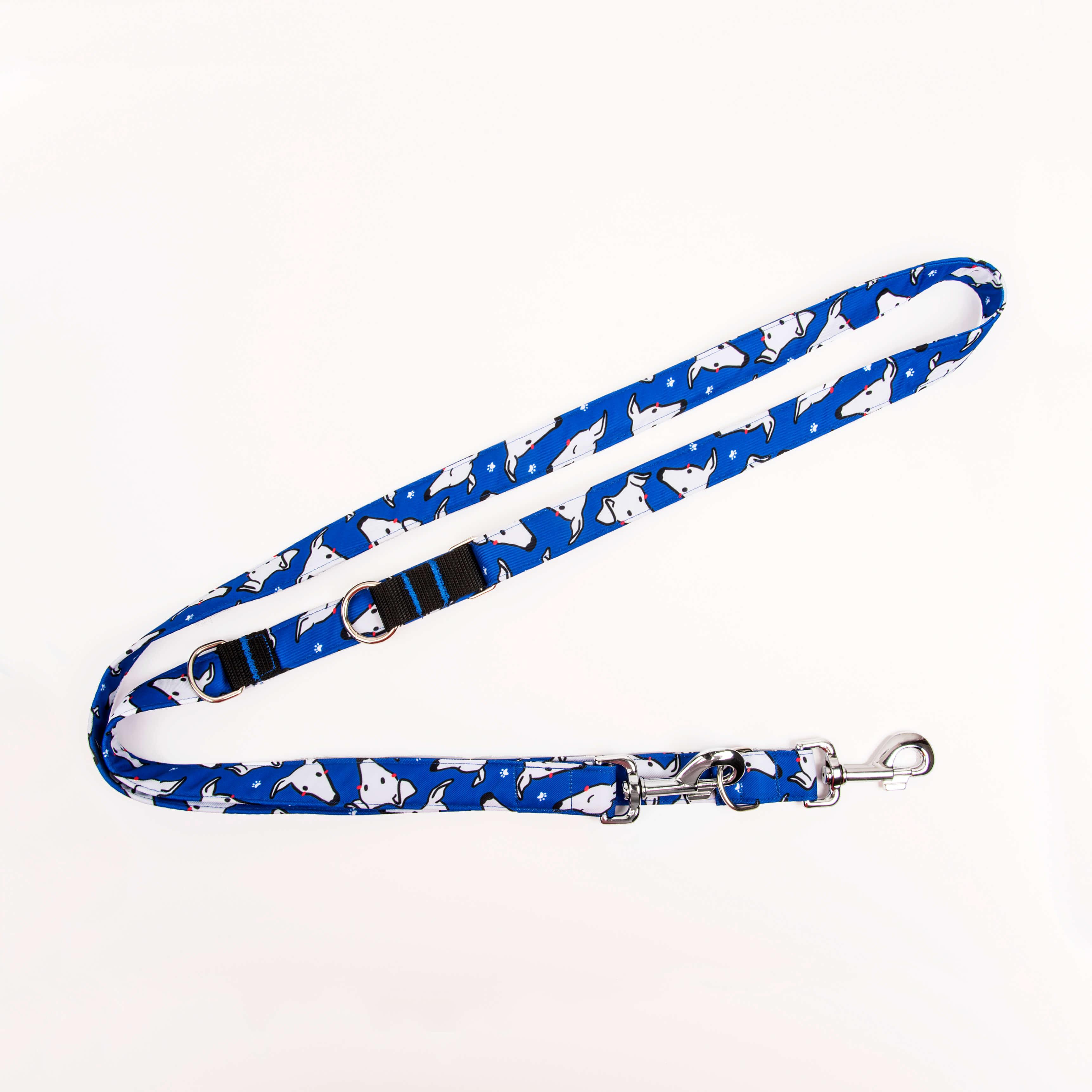 Correa multiposición – caritas azules – fondo blanco